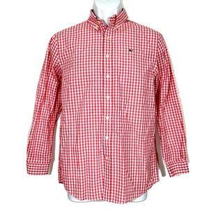 Vineyard Vines Boys Shirt L 16 Whale Pink Plaid